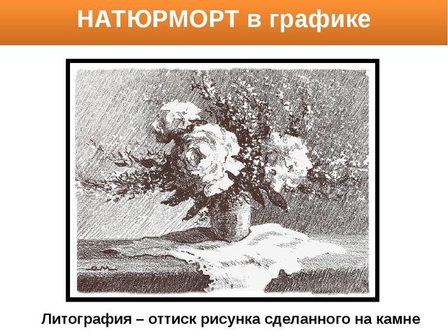 НАТЮРМОРТ в графике Литография – оттиск рисунка сделанного на камне