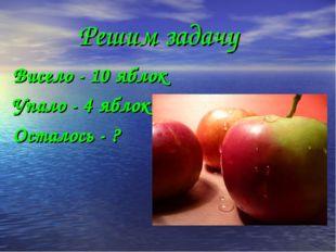 Решим задачу Висело - 10 яблок Упало - 4 яблока Осталось - ?