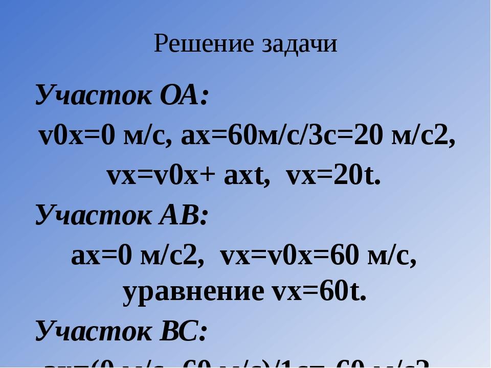 Решение задачи  Участок ОА: v0х=0 м/с, ах=60м/с/3с=20 м/с2, vх=v0х+ ахt, vх=...