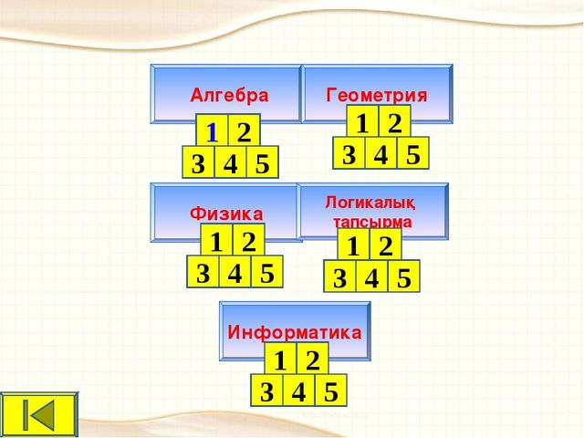Физика Логикалық тапсырма Алгебра Информатика Геометрия 1 2 3 4 5 1 2 3 4 5 1...