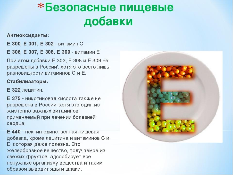 Безопасные пищевые добавки Антиоксиданты: Е 300, Е 301, Е 302 - витамин С Е 3...