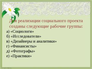 Для реализации социального проекта созданы следующие рабочие группы: а) «Соци