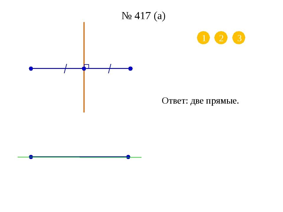 № 417 (б) 1 2 Ответ: бесконечно много осей симметрии (любая прямая, перпендик...