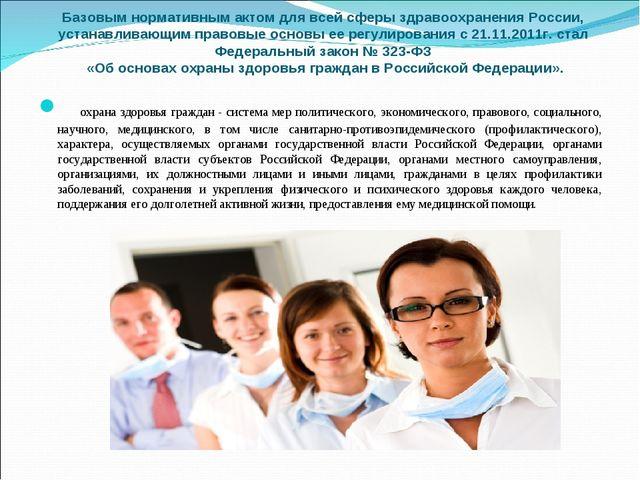 Базовым нормативным актом для всей сферы здравоохранения России, устанавливаю...