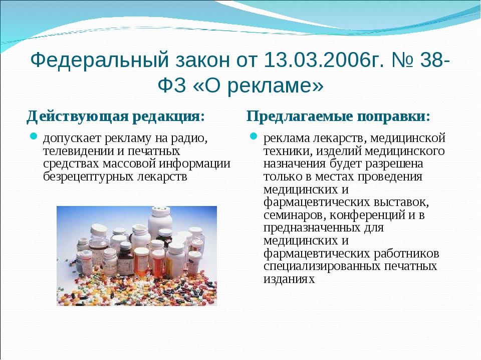 Федеральный закон от 13.03.2006г. № 38-ФЗ «О рекламе» Действующая редакция: П...