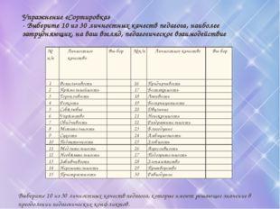Упражнение «Сортировка» - Выберите 10 из 30 личностных качеств педагога, наиб