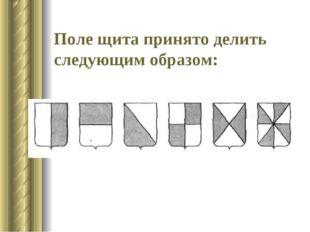 Поле щита принято делить следующим образом: