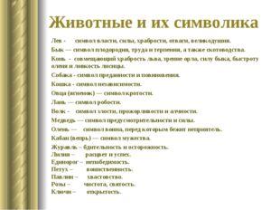 Животные и их символика Лев- символ власти, силы, храбрости, отваги, великод