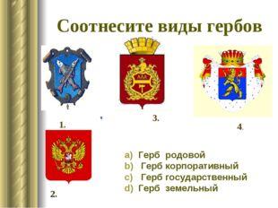 Соотнесите виды гербов Герб родовой Гербкорпоративный Герб государственн