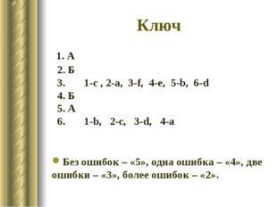 Ключ 1. А 2. Б 3. 1-c , 2-a, 3-f, 4-e, 5-b, 6-d 4. Б 5. А 6. 1-b, 2-c, 3-d, 4