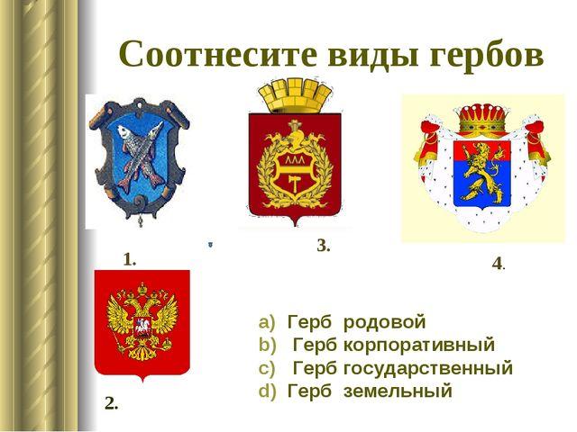 Соотнесите виды гербов Герб родовой Гербкорпоративный Герб государственн...