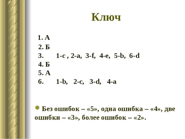 Ключ 1. А 2. Б 3. 1-c , 2-a, 3-f, 4-e, 5-b, 6-d 4. Б 5. А 6. 1-b, 2-c, 3-d, 4...
