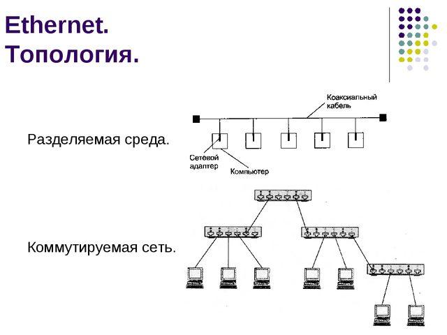 Ethernet. Топология. Разделяемая среда. Коммутируемая сеть. кафедра ЮНЕСКО по...