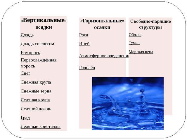 «Вертикальные»осадки Дождь Дождь со снегом Изморось Переохлаждённая морось Сн...