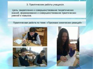 Практическая работа по теме: «Признаки химических реакций» 3. Практические ра
