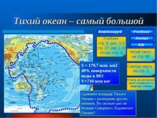 Тихий океан – самый большой Учебник Атлас К/К Читай текст на стр. 60 Смотри к