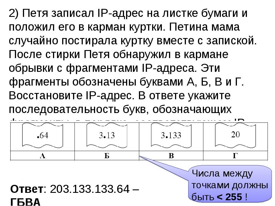 2) Петя записал IP-адрес на листке бумаги и положил его в карман куртки. Пети...