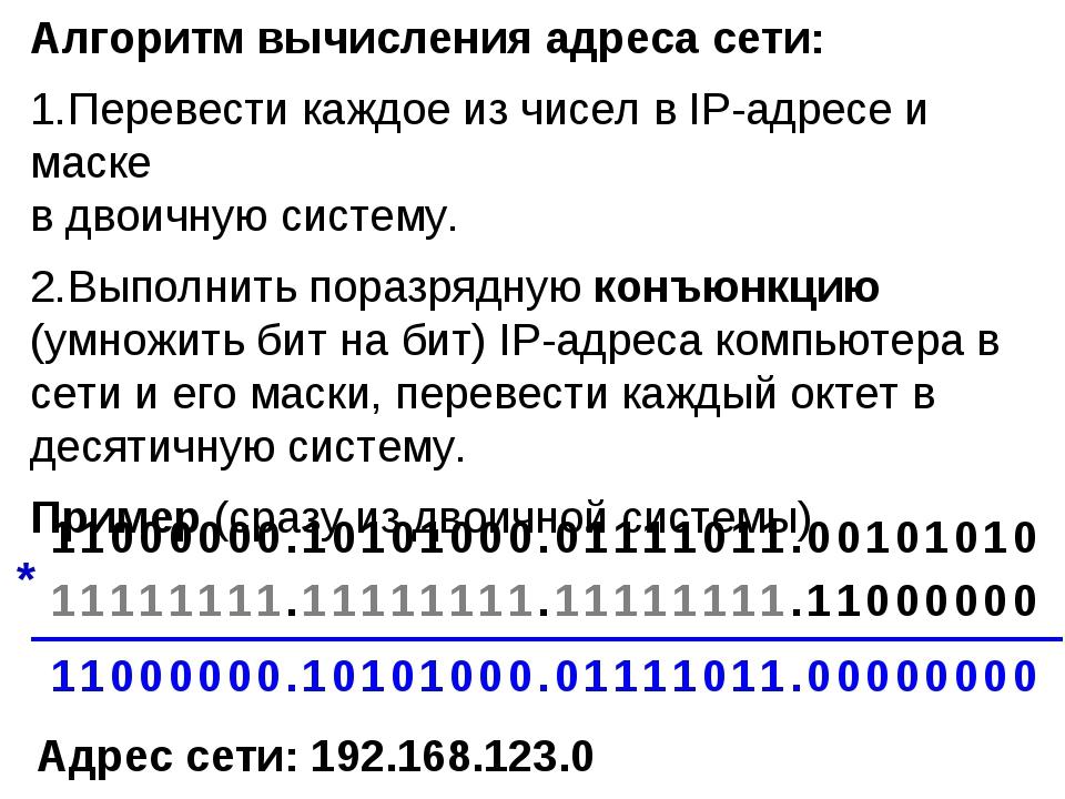 Алгоритм вычисления адреса сети: Перевести каждое из чисел в IP-адресе и маск...
