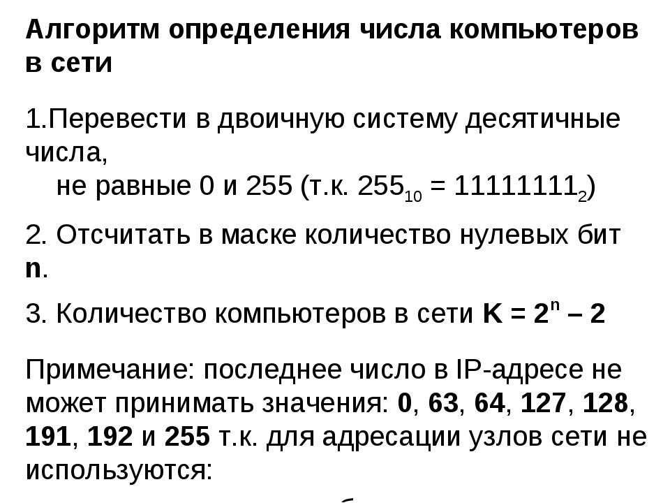 Алгоритм определения числа компьютеров в сети Перевести в двоичную систему де...