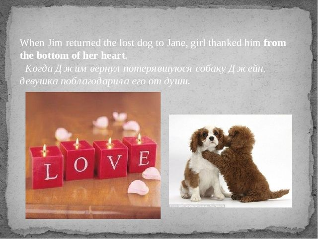 When Jim returned the lost dog to Jane, girl thanked himfrom the bottom of h...