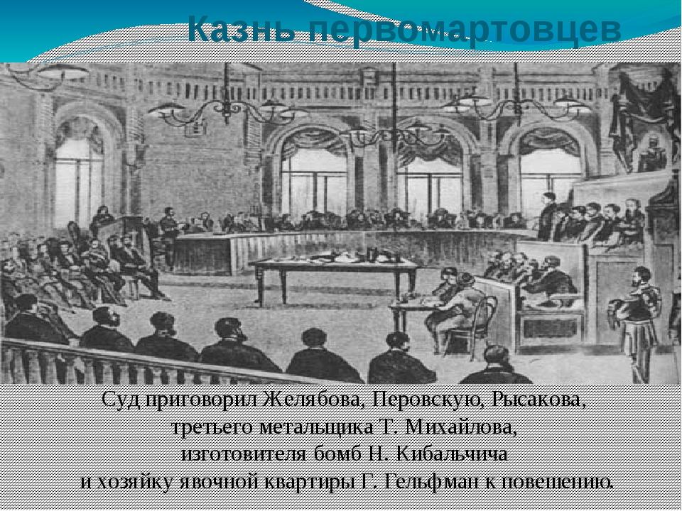 Казнь первомартовцев Суд приговорил Желябова, Перовскую, Рысакова, третьего...