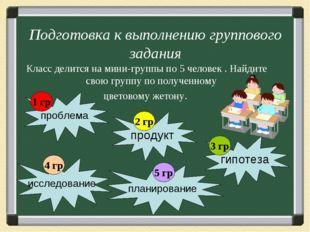 Подготовка к выполнению группового задания Класс делится на мини-группы по 5