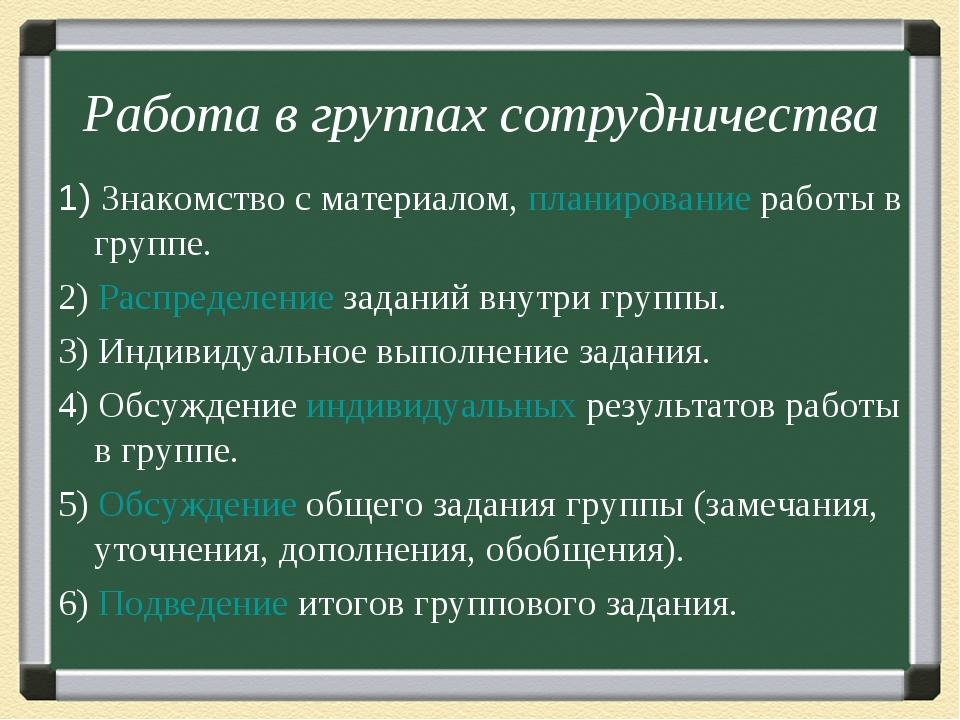 Работа в группах сотрудничества 1) Знакомство с материалом, планирование рабо...