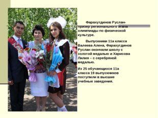Выпускники 11а класса Валеева Алена, Фарахутдинов Руслан окончили школу с зо