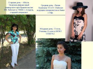 Старшая дочь – Айгуль. Окончила финансовый университет при Правительстве РФ.