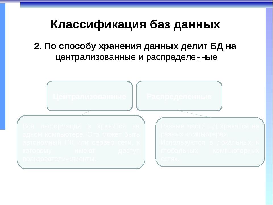 Классификация баз данных 2. По способу хранения данных делит БД на централизо...