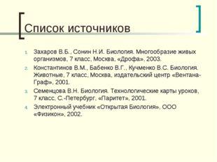 Список источников Захаров В.Б., Сонин Н.И. Биология. Многообразие живых орган