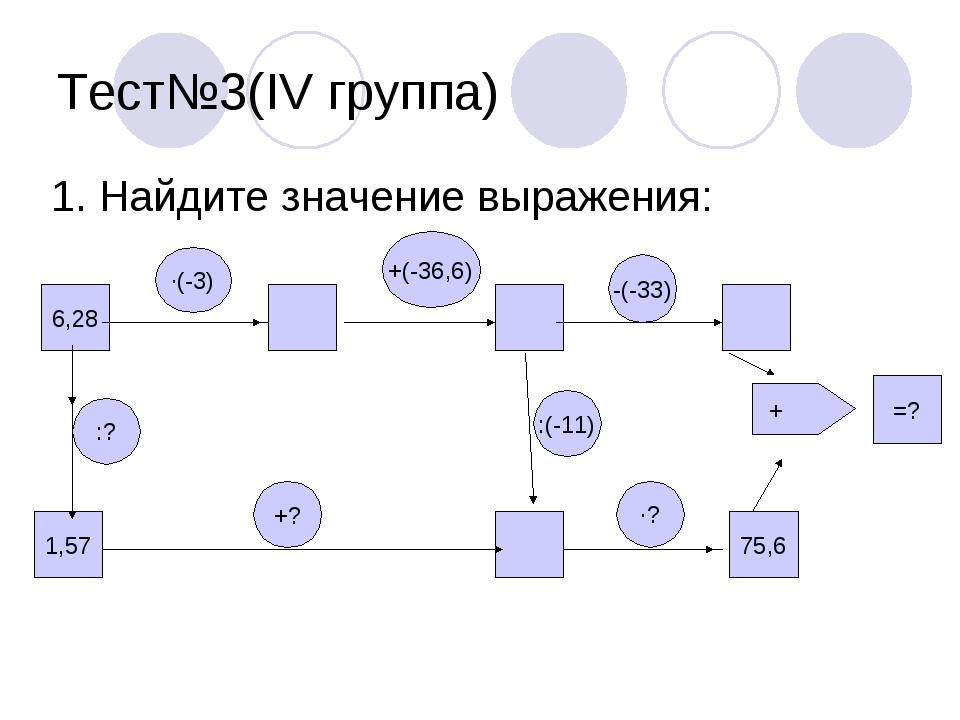 Тест№3(IV группа) 1. Найдите значение выражения: 75,6 =? :? +? ·(-3) ·? :(-11...