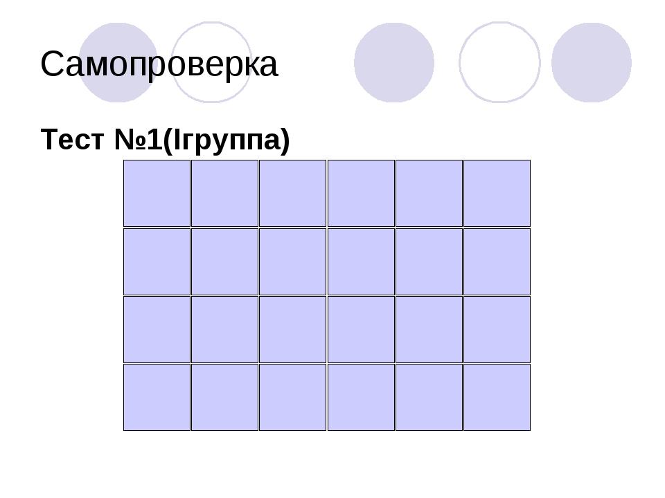 Самопроверка Тест №1(Iгруппа)