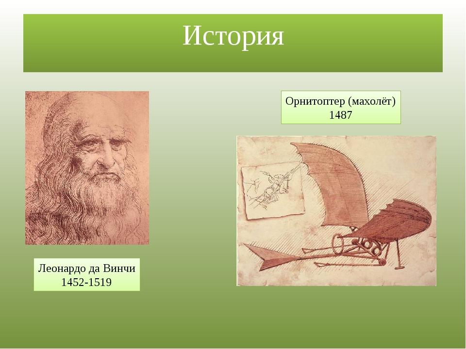 История Леонардо да Винчи 1452-1519 Орнитоптер (махолёт) 1487