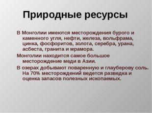 Природные ресурсы В Монголии имеются месторождения бурого и каменного угля, н