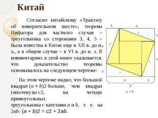 Китай Согласно китайскому «Трактату об измерительном шесте», теорема Пифаго