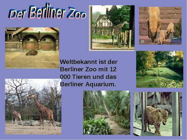 Weltbekannt ist der Berliner Zoo mit 12 000 Tieren und das Berliner Aquarium.