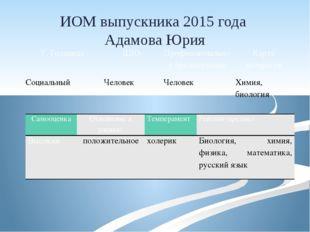 ИОМ выпускника 2015 года Адамова Юрия Т.Голланда ДДО Профессиональное предпоч