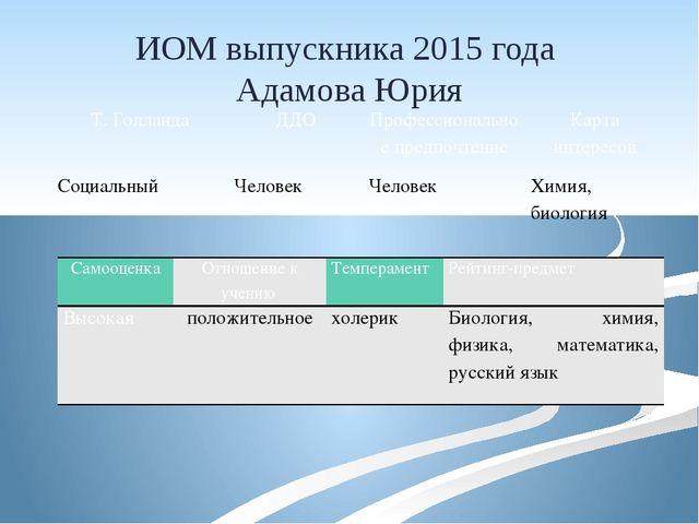 ИОМ выпускника 2015 года Адамова Юрия Т.Голланда ДДО Профессиональное предпоч...