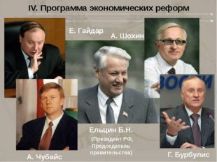 IV. Программа экономических реформ Ельцин Б.Н. (Президент РФ, Председатель пр