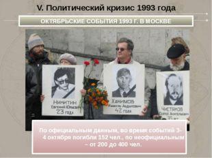 V. Политический кризис 1993 года ОКТЯБРЬСКИЕ СОБЫТИЯ 1993Г.ВМОСКВЕ Поофиц