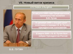 VII. Новый виток кризиса В.В. ПУТИН ОТСТАВКА ЕЛЬЦИНА В августе 1999 года Пред