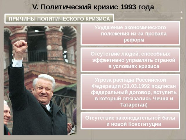 V. Политический кризис 1993 года Ухудшение экономического положения из-за про...