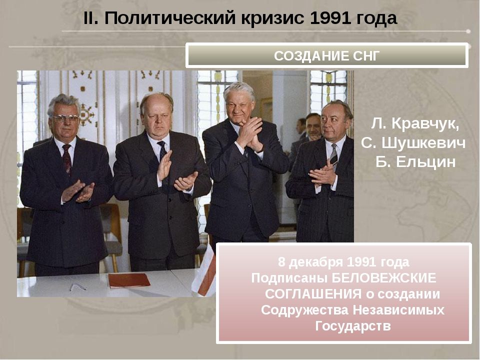 II. Политический кризис 1991 года СОЗДАНИЕ СНГ 8 декабря 1991 года Подписаны...