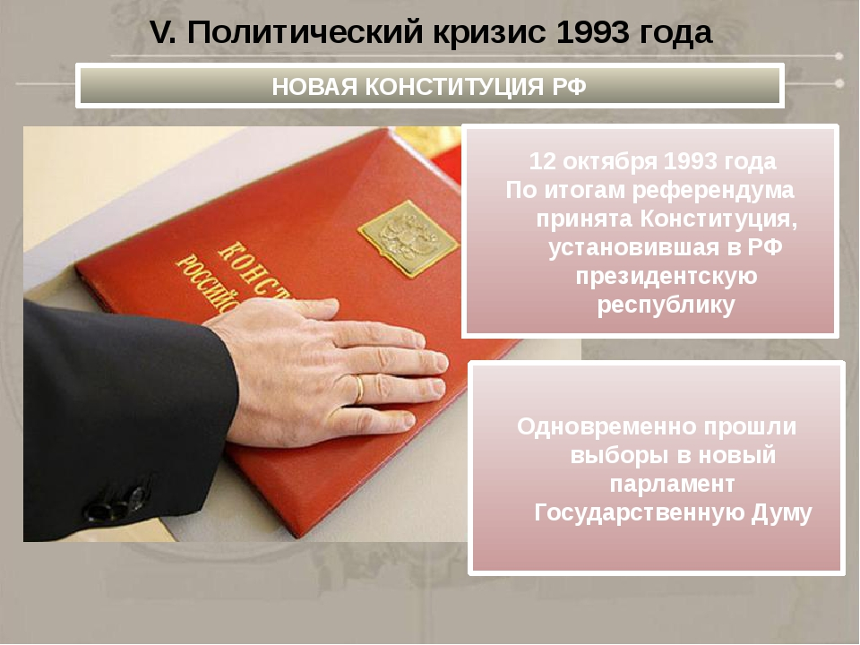 V. Политический кризис 1993 года НОВАЯ КОНСТИТУЦИЯ РФ 12 октября 1993 года По...
