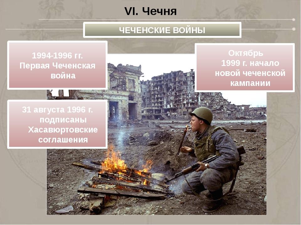 VI. Чечня ЧЕЧЕНСКИЕ ВОЙНЫ 1994-1996 гг. Первая Чеченская война 31августа 199...