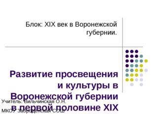 Развитие просвещения и культуры в Воронежской губернии в первой половине XIX