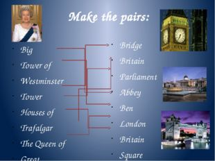 Make the pairs: Big Tower of Westminster Tower Houses of Trafalgar The Queen
