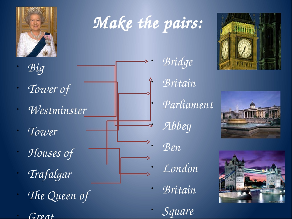 Make the pairs: Big Tower of Westminster Tower Houses of Trafalgar The Queen...