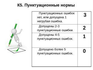 К5. Пунктуационные нормы Пунктуационных ошибок нет, или допущена 1 негрубая о